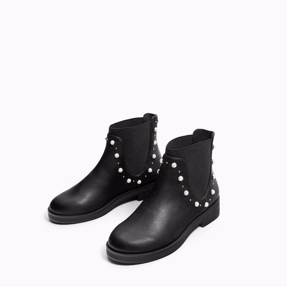 Zara Kids Leather Ankle Boots With Faux